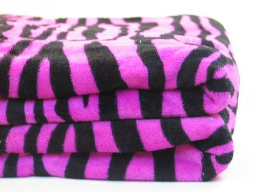 Microfiber Zebra Print Pink And Black Queen Blanket front-5739