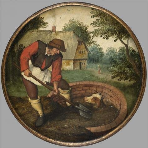 Oil Painting 'Pieter Brueghel II,It Is Too Late To Fill In The Well After The Calf Has Drowned,1564-1636' 12 x 12 inch / 30 x 30 cm , on High Definition HD canvas prints, Basement, Powder Room decor