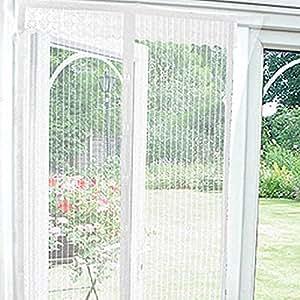 Beam Feature Magnetic Door Curtain, White