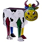 Colorful Cow Metal Planter/Holder