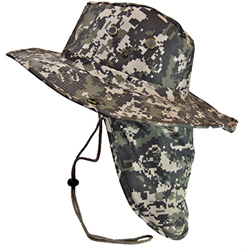 Boonie Bush Safari Outdoor Fishing Hiking Hunting Boating Snap Brim Hat Sun Cap with Neck Flap (Digital Camo, L) (Digital Hat compare prices)
