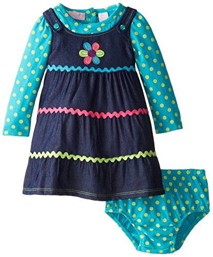 Kids Headquarters Baby-Girls Newborn Polka Dots Long Sleeve Dress With Flower, Multi, 6-9 Months front-903618