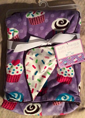 """Soft Sherpa Baby Blanket """"Baby Cakes Reversible"""" - 1"""