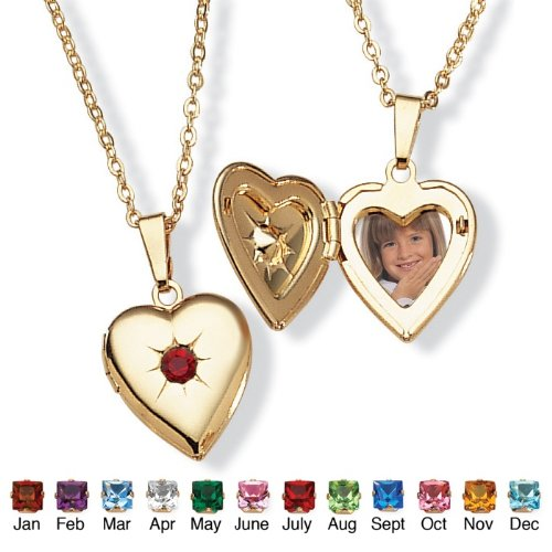 PalmBeach Jewelry Goldtone Birthstones Simulated Heart Locket- July- Simulated Ruby