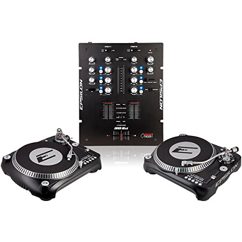 EPSILON INNO-PROPAK DJT-1300 USB Turntable (2) and INNO-MIX2 Mixer (1) Black (Turntable Pair compare prices)