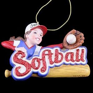 Girl Softball Sports Player Christmas Tree Ornament