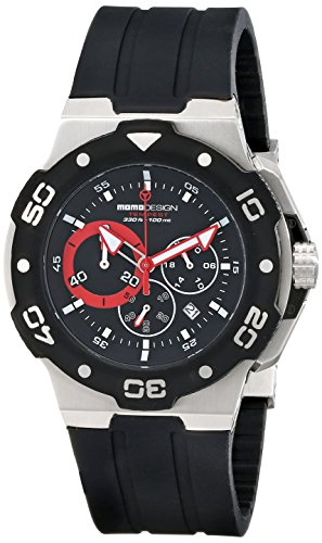 MomoDesign Tempest Men's 46mm Chronograph Black Silicone Watch MD1004BK-01BKRD