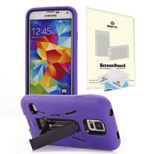 Hybrid Shock Proof Combo Hard Case Cover For Samsung Galaxy S5 Sv I9600 With Kick Stand + Sheath Screen Protector From At&T, Sprint, Verizon, Metropcs Galaxy S5 (Purple)