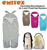 Emitex MULTI - Spring / Summer / Autumn -- NO UNTHREADING of Seat Belts -- Swaddling Wrap, Car Seat and Pram Blanket, Universal for Car Seat (e.g., Maxi-Cosi, Römer, etc.), for Pram, Buggy or Baby Bed -- GREY