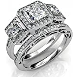 Ladies Ring - 925 Sterling Silver Ladies Luxury Unique Bridal Wedding Band Engagement Ring Set