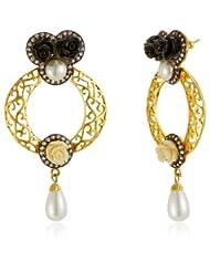 Azotique Pearl Hoop Earrings For Women (Black) (AZ ER 57)