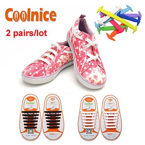Coolnice® 2 coppie No legare lacci delle scarpe per i bambini per adulti 2 * 12 pezzi - Silicon impermeabile Elastic Stretch Pulire i merletti di pattino di pulizia in esecuzione con multicolore
