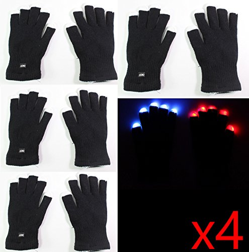 8 gloves ( 4 Pairs ) of 7 Mode LED Light Up Flashing Red Blue Green Glow Rave Black White Finger Gloves USA Seller ~ We Pay Your Sales Tax – Halloween Christmas Dance Party
