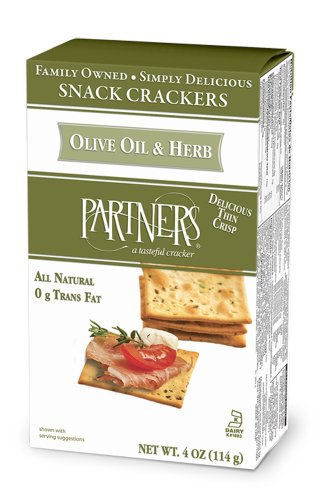 Partners All Natural Crackers, Olive Oil and Herb, 4-Ounce Boxes (Pack of 6) by 