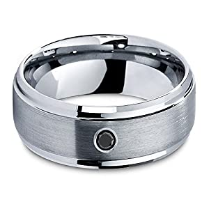 Tungsten Wedding Band Ring - 9mm - Black Diamond Band - Wedding Band for Men Women - ALL Sizes - Unique Custom Made Designer Rings Comfort Fit - Male Mans His Hers Couple Sets - Personalize Laser Engraving Available - Lifetime Guarantee