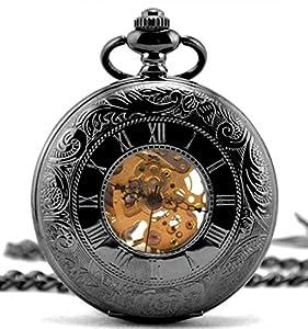 Infinite U Estilo Romano Hueco Esqueleto Acero Mano-viento Mecánico Reloj de bolsillo luminoso Negro por Infinite U