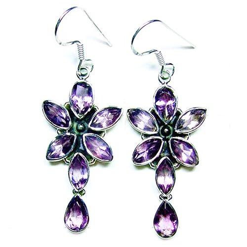 Sterling Silver Natural Untreated 14ct. Amethyst Star Flower Dangle Earrings