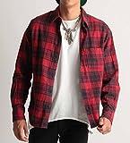 (バレッタ) Valletta ネルチェックシャツ 長袖 メンズ ネルシャツ チェック柄 起毛 暖かい 腰巻き 肩掛け ストリートモード カジュアル 27レッド×ブラック Mサイズ