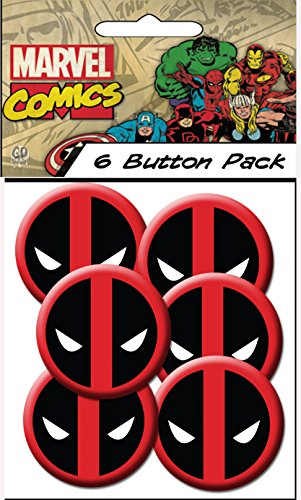 "C&D Visionary Marvel Extreme Classic Deadpool Spiderman Head Shot 1.25"" Button (6-Piece)"