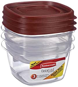 Rubbermaid 7J94 Easy Find Lid Food Value Pack Storage Containers, Small, Red