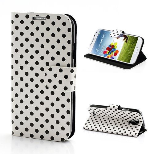 Slick Shell(TM) White Polka Dots Soft PU Leather Wallet Case Stand w/ Pocket & Card Holder for Samsung Galaxy S4