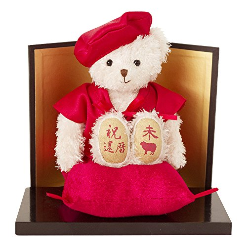 Zodiac q 2015 Edition] 60th birthday gift, Memorial Bay a (still,) w/byobu marked with red sleeveless coat worn era and the Zodiac and a pedestal with (lapping)