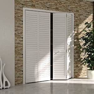 Bi fold door louver louver plantation 1x30x80 white - Plantation louvered closet doors ...