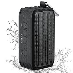 Bluetooth Speaker, Venstar Portable Wireless Bluetooth 4.0 Speaker Shower Speaker Outdoor Sports Speaker with Super Bass 7W Drivers, TF/SD Card, 12 Hours Play & Carabiner