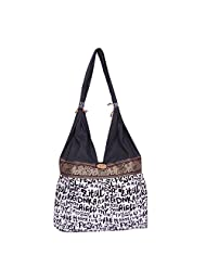 Womaniya Canvas Black Handbag For Women(Size-32 Cm X 32 Cm X 10 Cm) - B00SJ1I9D2
