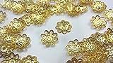 【HARU雑貨】ゴールド 座金 約70個 10mm 金/フラワー 菊座 花座 ビーズキャップ