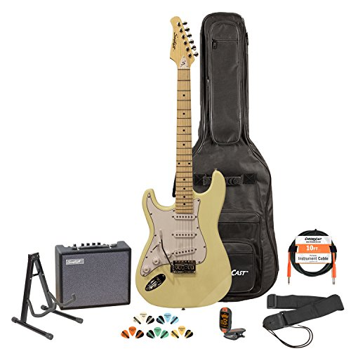 Sawtooth St-Es-Lh-Vcw-Kit-3 Left Handed Electric Guitar In Vanilla Cream With White Pickguard, Lesson, Gig Bag, Stand, Cable, Picks, Tuner, Strap And Amplifier