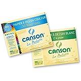 Canson 400061913 Lot de 2 Pochettes Papier à dessin 12 feuilles 24 x 32 cm 1 C à grain 180g Blanc et 1 Mi-Teintes 160g Couleurs Vives