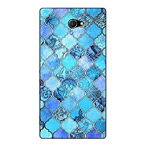 Jugaaduu Blue Moroccan Tiles Pattern Back Cover Case For Sony Xperia M2