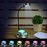 DreamSky Alarm Clock With Desk Lamp ,7 Color Changing Mood Light , USB Port For Phone Charger , Snooze, Outlet Powered With DC Adapter Included , Batery Backup. (Silver)