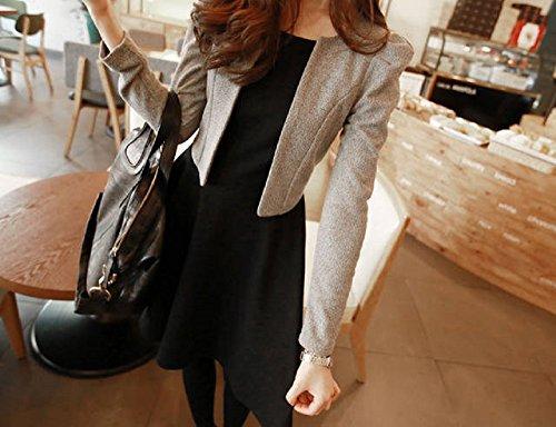 6ce98045b7f6a ... ジャケット レディース 黒 ワンピース グレー 重ね着 風 切り替え 長袖 エレガント ドレス ブラック スーツ (XL ...