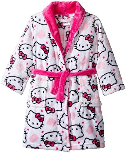 Hello Kitty Girls' Toddler Girls' Luxe Plush Robe, White, 2T