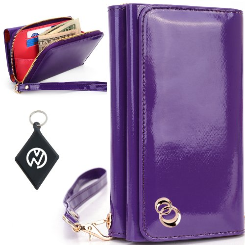 Great Sale Apple iPhone 5S Women's Uptown Wristlet Wallet Clutch with Dual Compartment, Built-In Credit Card Slots and Internal Zipper Pocket. Includes one Detachable Wrist Strap. Color: Purple Patent Leather + NuVur ™ Keychain (SUNIWMU1)