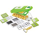 Slings 12 Piece Vegetable & Fruit Chopper, Cutter, Slicer, Nicer, Mincer, Dicer, Mandoline, Grater, Peeler (Green)