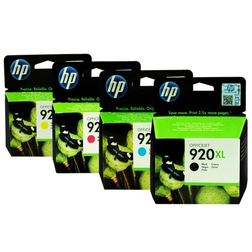 HP 920XL Four Pack Black &amp; Colors Ink Cartridge Set -Black/Yellow/Cyan/Magenta