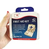TASOON Small First Aid Kit Box Adventure Medical Kits Supplies Pocket Emergency Kit, Waterproof Case Portable Survival Kit for Daily Care, 42-Piece (TH1001)