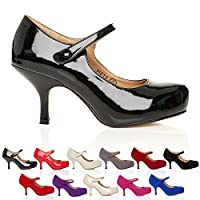 New Womens Ladies Strap Mid Heel Casual Smart Work Pump Court Shoes Size 3-8 by CORE COLLECTION