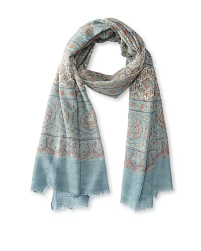 MILA Trends Women's Hand Block Print Wool Scarf, Blue/Red Multi