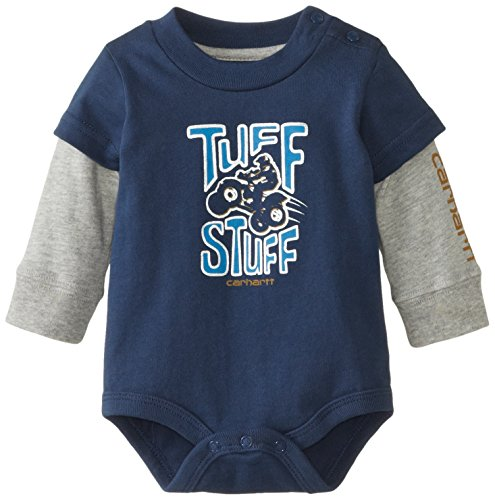 Carhartt Baby-Boys Newborn Tuff Stuff Layered Sleeve Bodysuit, Insignia Blue, 6 Months back-843500