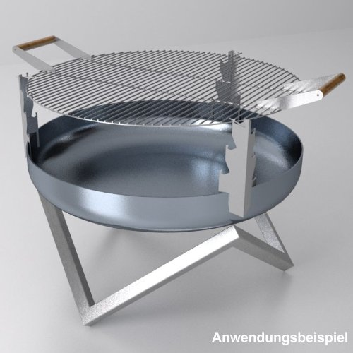 Grillrost 45cm Edelstahl rund Holzgriffe SvenskaV Grill Aufsatz Grillgitter jetzt kaufen