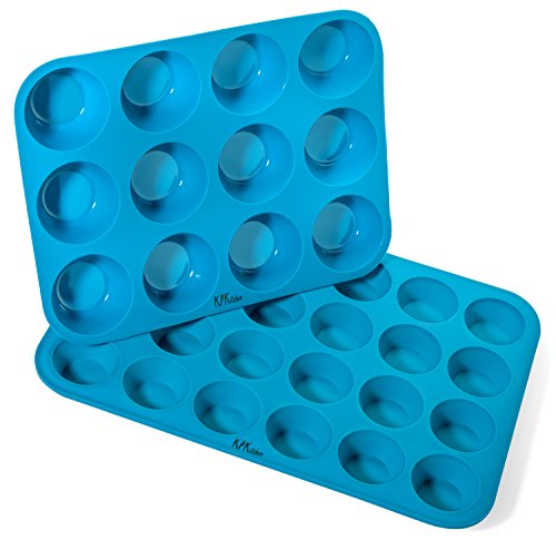 Silicone Muffin & Cupcake Baking Pan Set (12 & 24 Mini Cup Sizes) - KPKitchen Non Stick, BPA Free & Dishwasher Safe Bakeware Tins - Blue Top Home Kitchen Rubber Trays & Molds - Plus Free Recipe eBook