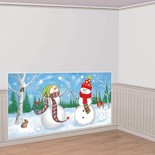 Amscan-Whimsical-Snowman-Plastic-Scene-Setters-Add-Ons-WhiteBlue-33-12-x-65