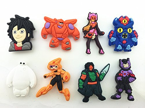 8pcs Big Hero 6 (Hiro Baymax Fred) Shoe Charms for Croc Fits Shoes & Wristband Bracelet - 1