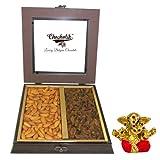 Chocholik Premium Gifts - Fancy Gift Box Of Almonds & Raisins With Small Ganesha Idol - Diwali Gifts