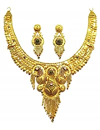 Shingar Jewellery Ksvk Jewels Antique Gold Plated Necklace Set (Bandhel) For Women (8916-g)