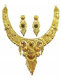 Shingar Jewellery Ksvk Jewels Antique Gold Plated Necklace Set (Bandhel) For Women (8916-g)